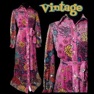 1960s metallic psychedelic maxi dress